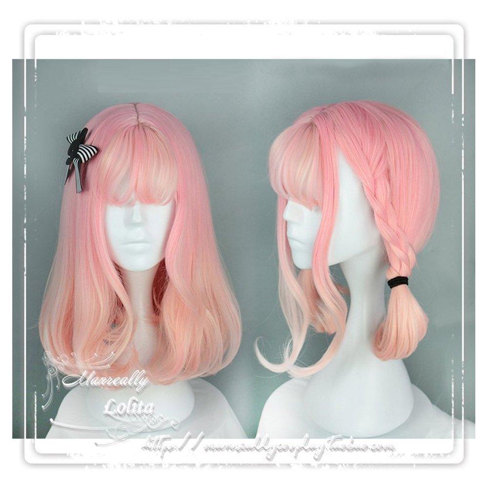 Women Girls Natural Looking Daily Wear Cute Short Pink Bob WigJapan Harajuku Sweet Lolita Club Bob Costume Party Daily Hair with Wig Cap