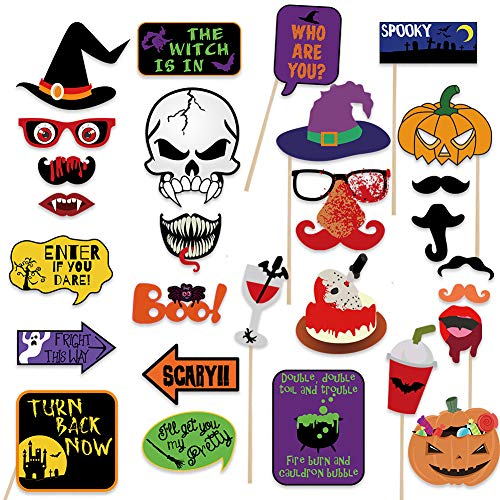 Photo Halloween 2019 (2019 Halloween Photo Booth Props(28pcs) for Halloween Party Supplies, Creepy Costume Props with Sticks for Halloween Decorations, Black, Red Trick or Treat Décor)