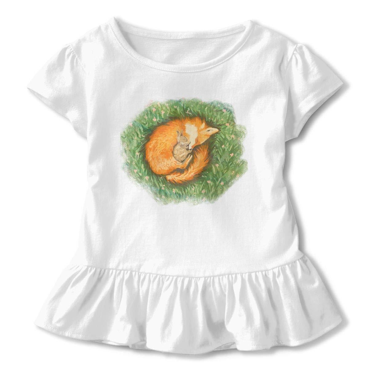 Fox and Rabbit Print Toddler Girls T Shirt Kids Cotton Short Sleeve Ruffle Tee