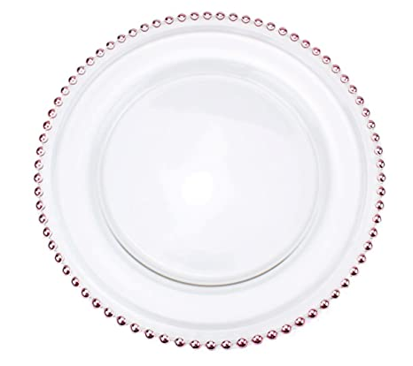 Amazon Com Clear Glass Charger 12 6 Inch Dinner Plate With Beaded  sc 1 st  tagranks.com & Terrific Clear Plastic Plates With Gold Rim Pictures - Best Image ...