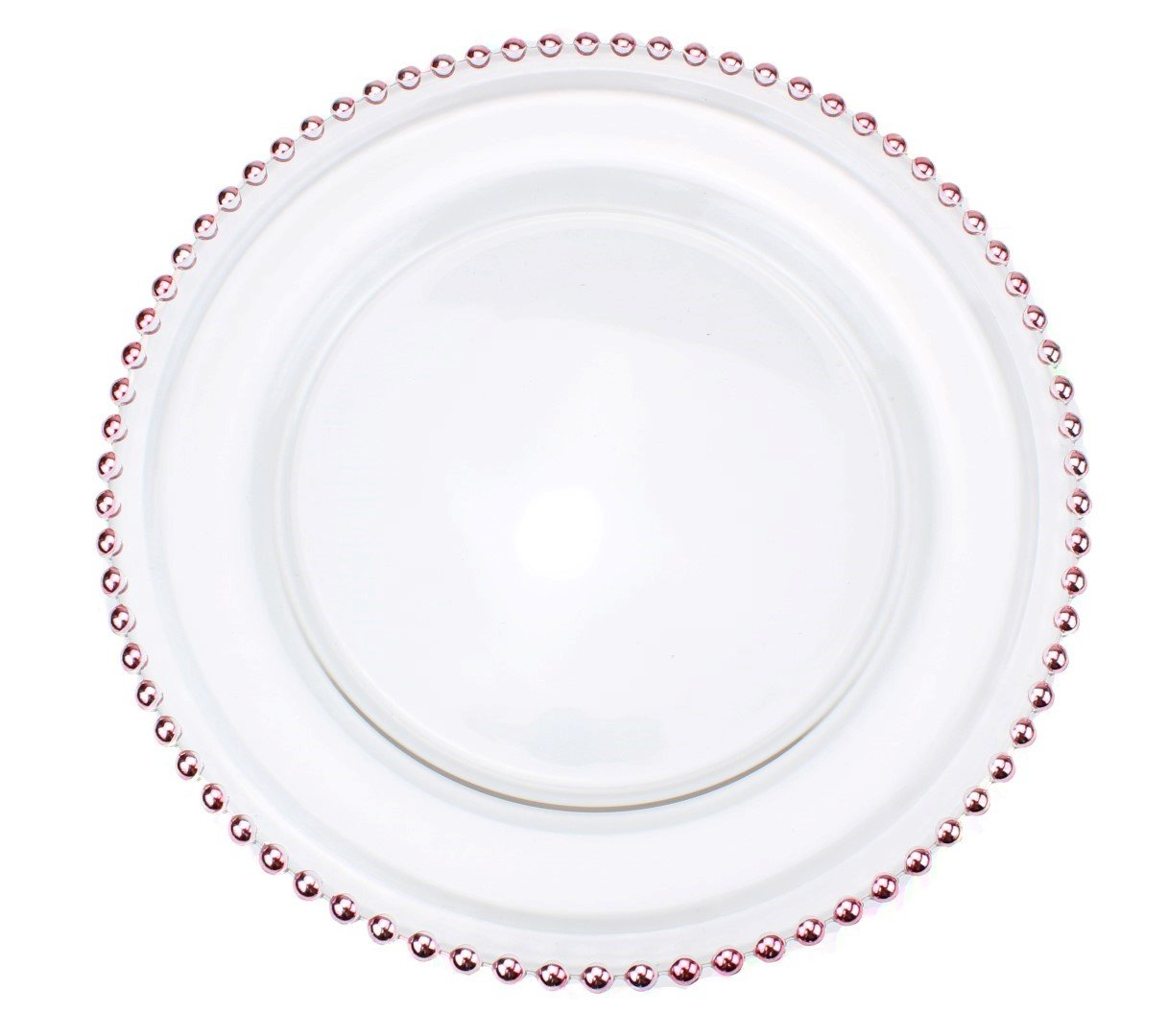Ms Lovely Clear Glass Charger 12.6 Inch Dinner Plate With Beaded Rim - Set of 4 - Rose Gold