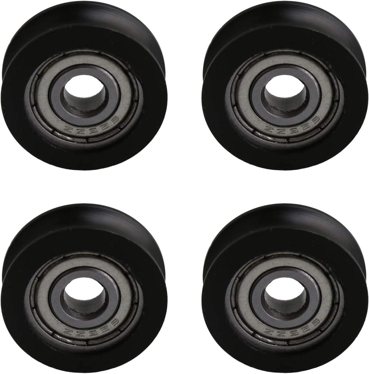 Winwill® 4Pcs 5 * 20 * 7mm negro POM recubierto rodamiento de bolas de rueda de rueda para muebles de polea