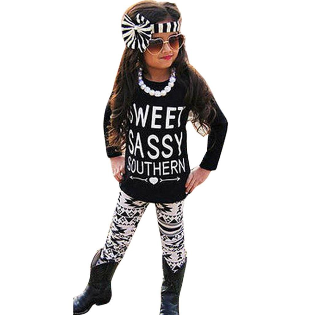 DaySeventh 2PCS Toddler Kids Girls Outfits T-shirt Tops Dress+ Pants Clothes Set Black 1) DSG201701