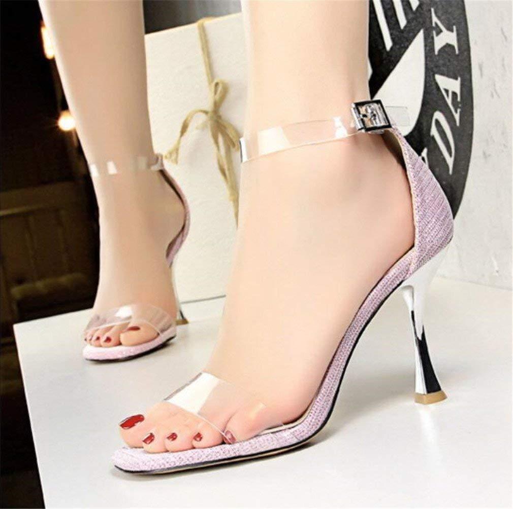 Moontang Transparente High Heels Sandalen Damen Stöckelabsatz Klassische Klassische Klassische Schuhe Hochzeit Blink Strass Schuhe, anpassbar (Farbe   Rosa, Größe   EU37) 7a4bae