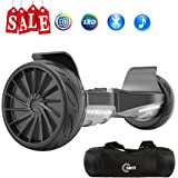 NHT All Terrain Hoverboard 8.5 Inch Wheels Off-Road Electric Smart Self Balancing Scooter with Bluetooth Speaker, LED Lights, 700W Motors - UL2272 Certified, Black-Red