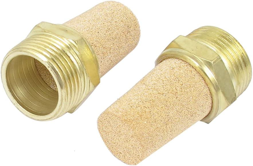 3//4 BSP Au/ßengewinde Luft Auspuff Schalld/ämpfer Messing Pneumatik Filter de sourcingmap/® 2stk