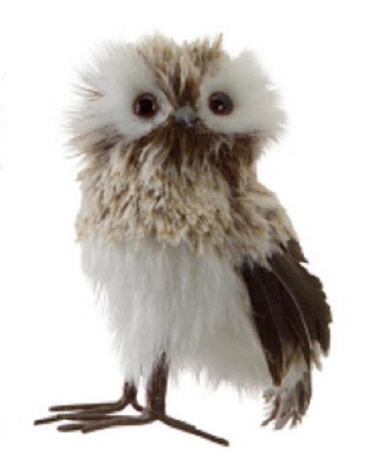 White and Brown Woodland Owl Table Top Decoration - ChristmasTablescapeDecor.com