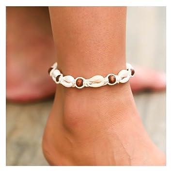 Amazon Com Simsly Boho Anklet Bracelet With Shell Beach Beaded
