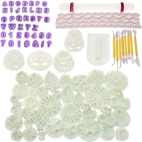 BIGTEDDY –Zubehör-Set für Glasur-Tortendekoration, 108 Stück, mit Gussformen zur Modellierung von Blumen