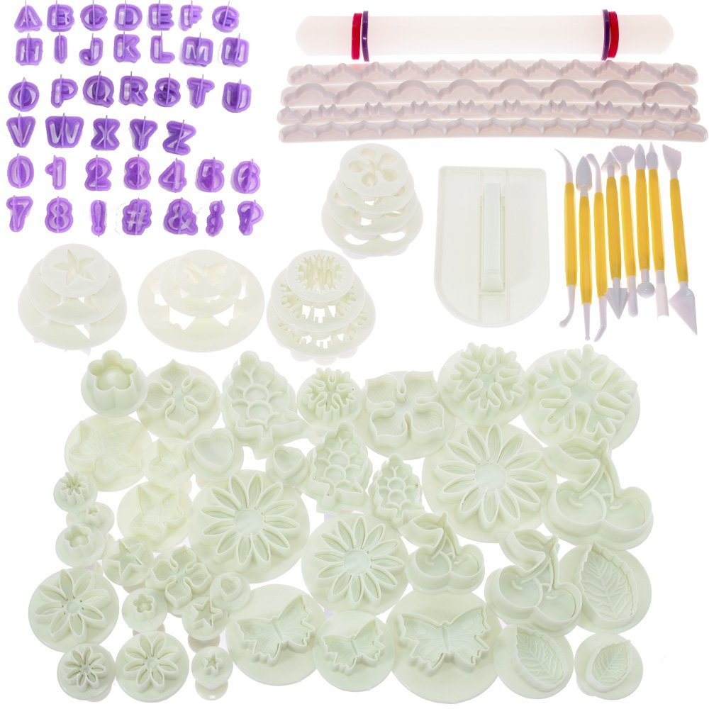BIGTEDDY - 108pcs Cake Bakeware Sugarcraft Icing Decoration Kit with Flower Modelling Mold Mould Fondant Tools BT0025