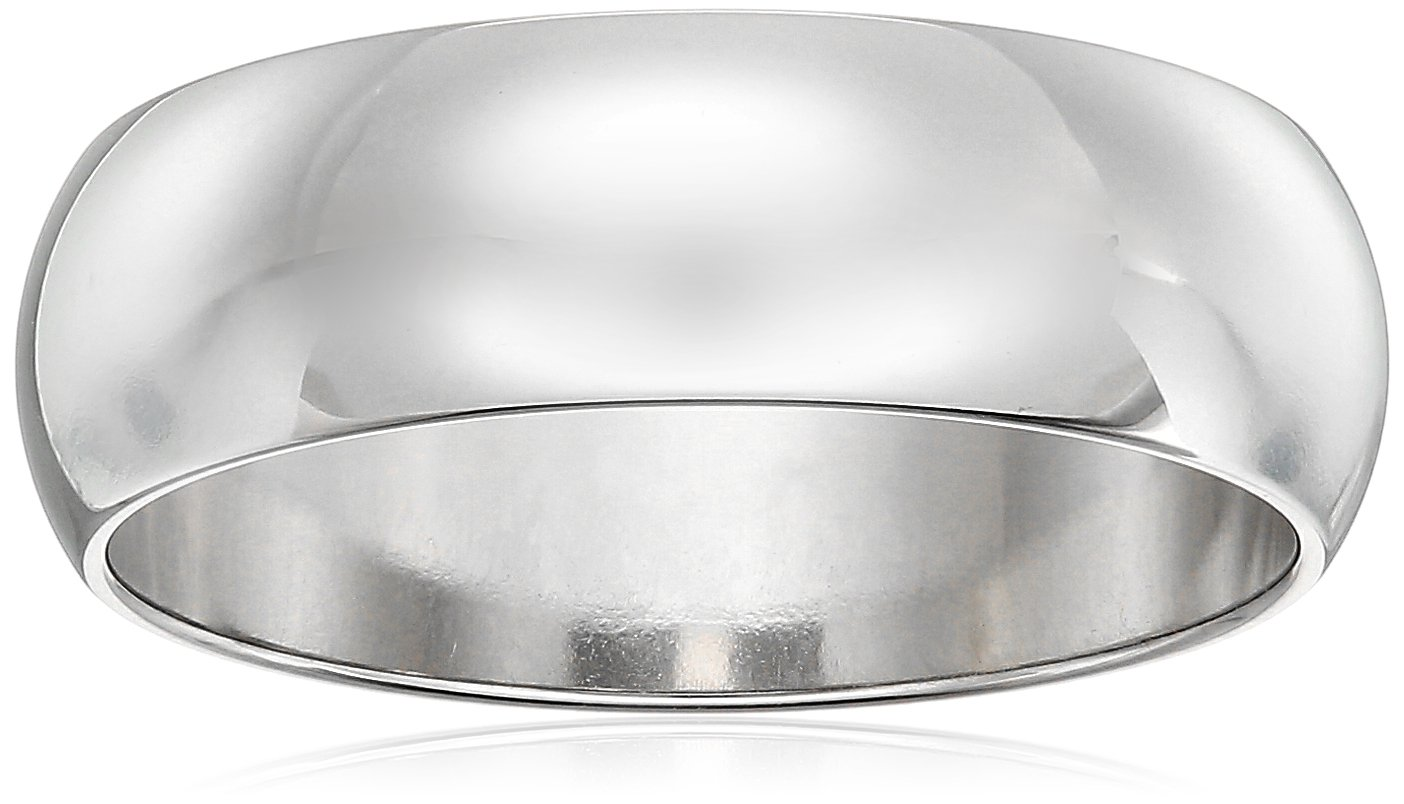 Classic Fit 10K White Gold Band, 6mm, Size 12