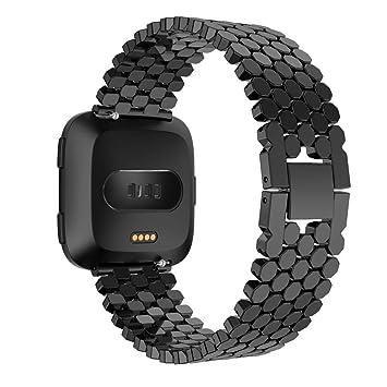 DIPOLA Correa única del Reemplazo de la Banda para Fitbit Versa de Reloj del Acero Inoxidable de la Moda: Amazon.es: Deportes y aire libre