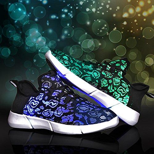 Idee Frames Glasvezel Geleid Oplichten Schoenen Voor Vrouwen Mannen Usb Oplaadbare Knipperen Fashion Sneaker (kid Grootte / Vrouwen Grootte / Mannen Grootte) Zwart