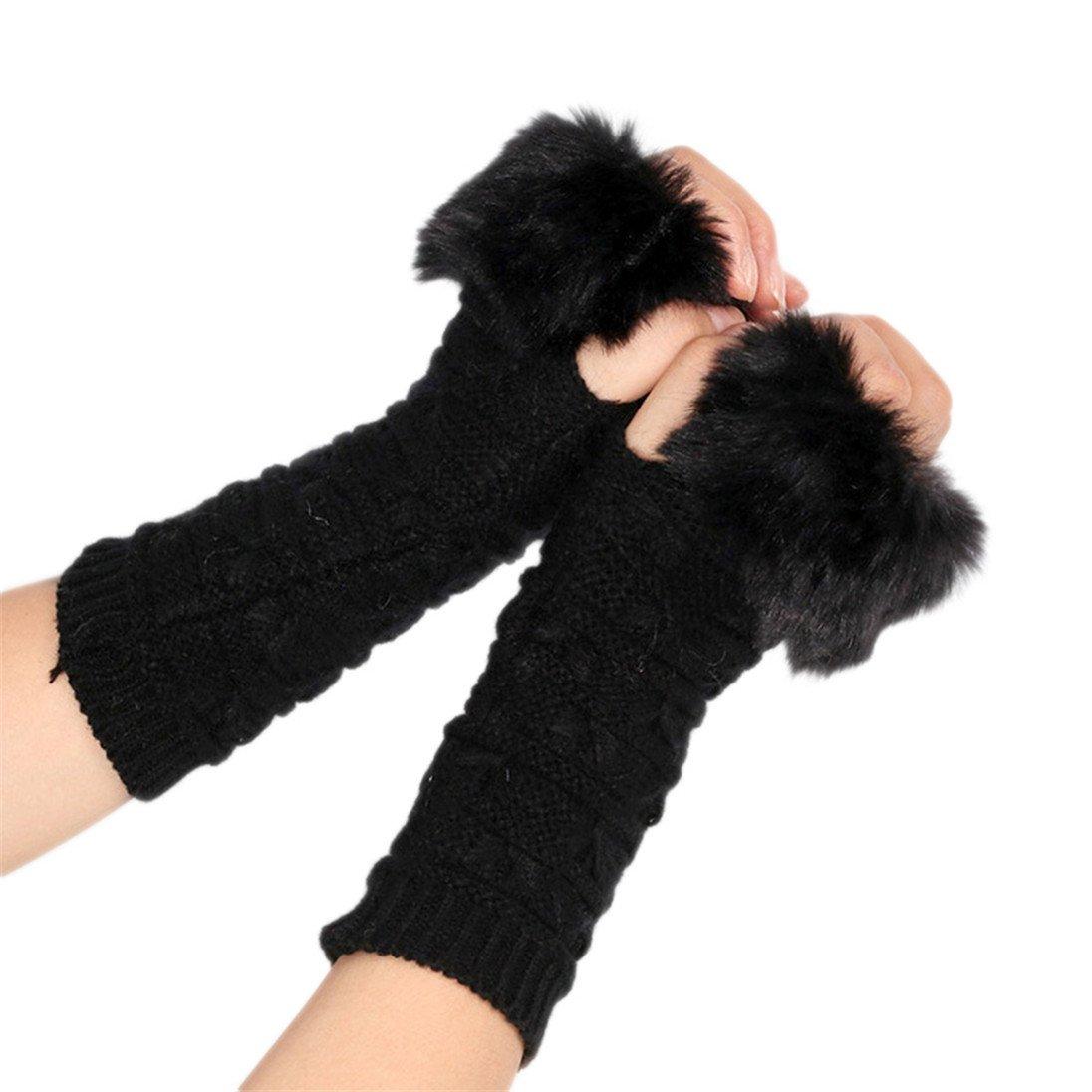 Colorido Women Fashion Winter Faux Fur Half Fingerless Indoor Knitting Gloves Mitten size Regular (Black)