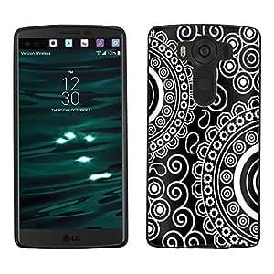 LG V10 Case, Snap On Cover by Trek Paisley Circles White on Black Case