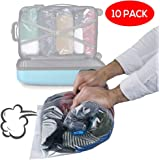 10 Pack Premium Vacuum Storage Bags, Space Savers - Reusable Travel Roll Up Compression Bags (50cmx35cm) (60cmx40cm)(70cmx50cm) - Waterproof Double Zipper Sealer Bags (No Pump Needed!)