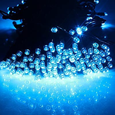 Blue 17m 55ft 100 LED Solar Powered Fairy String Light for Outdoor / Gardens / Homes / Christmas / Partys / Weddings / Easter / Festivals;Party Decoration Waterproof Solar Lights