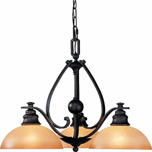 Volume Lighting V4143-65 Rainier 3 Light Foundry Chandelier, Bronze