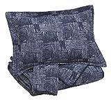Signature Design by Ashley Q365013K Jabesh 3 Piece Quilt Set, King, Navy