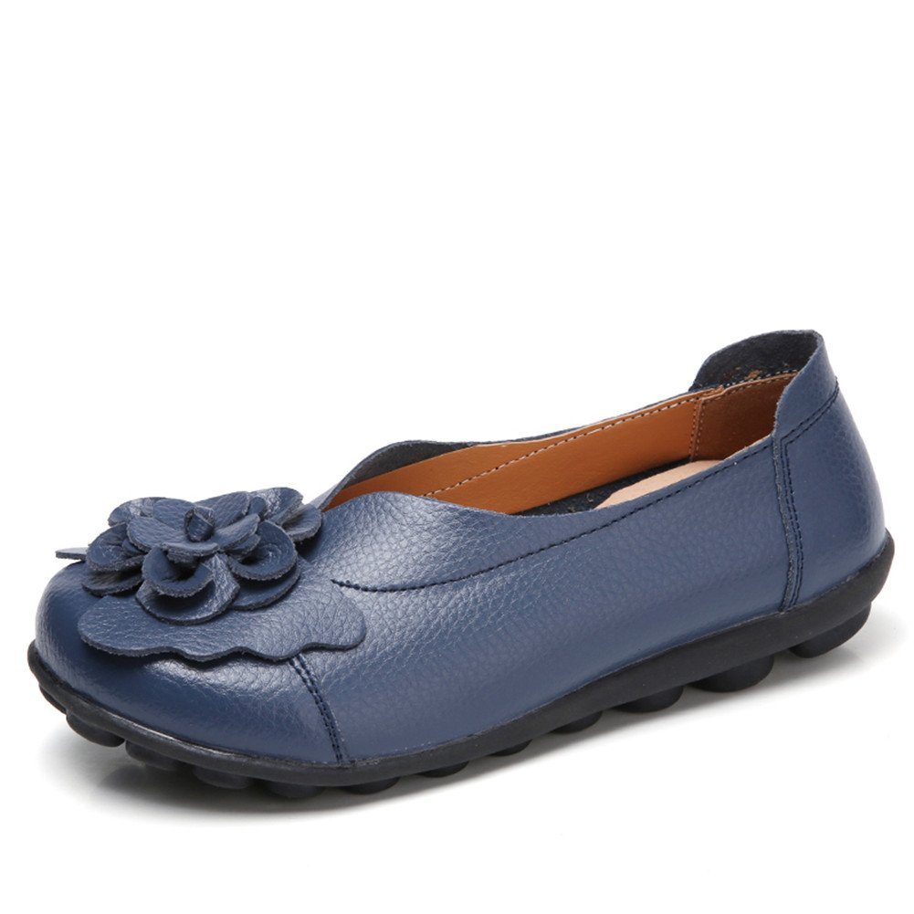 Z-joyee Women's Slip-On Loafer Shoes Casual Driving Genuine Leather Flat Moccasin Shoes,Dark Blue 41