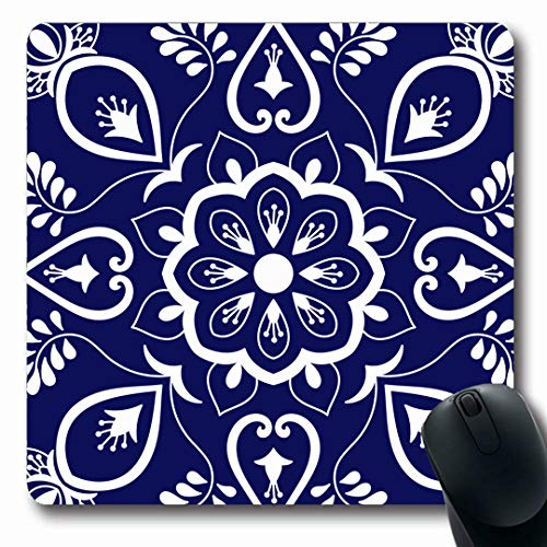 - Ahawoso Mousepads Mosaic Italian Pattern Blue Ceramic Delft Flower Dutch Lisboa Majolica Sicily Oblong Shape 7.9 x 9.5 Inches Non-Slip Gaming Mouse Pad Rubber Oblong Mat