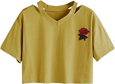 Goodsatar Mujer Rosa Manga Corta Casual Camiseta Mezcla de algodón ...