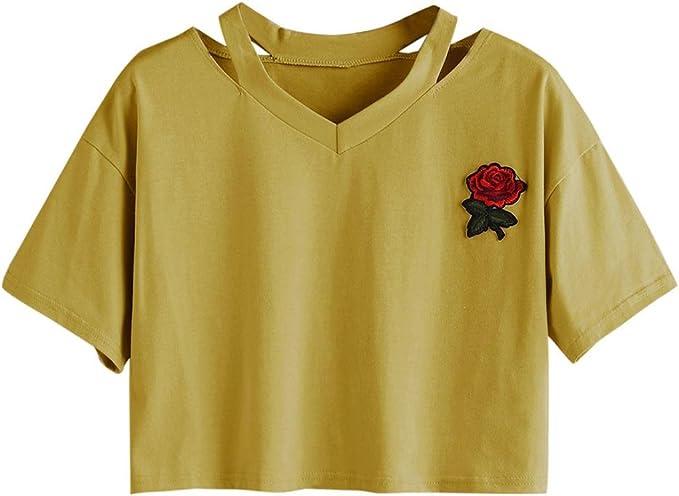 Goodsatar Mujer Rosa Manga Corta Casual Camiseta Mezcla de algodón Cuello en V Chaleco Tops Blusa: Amazon.es: Ropa y accesorios