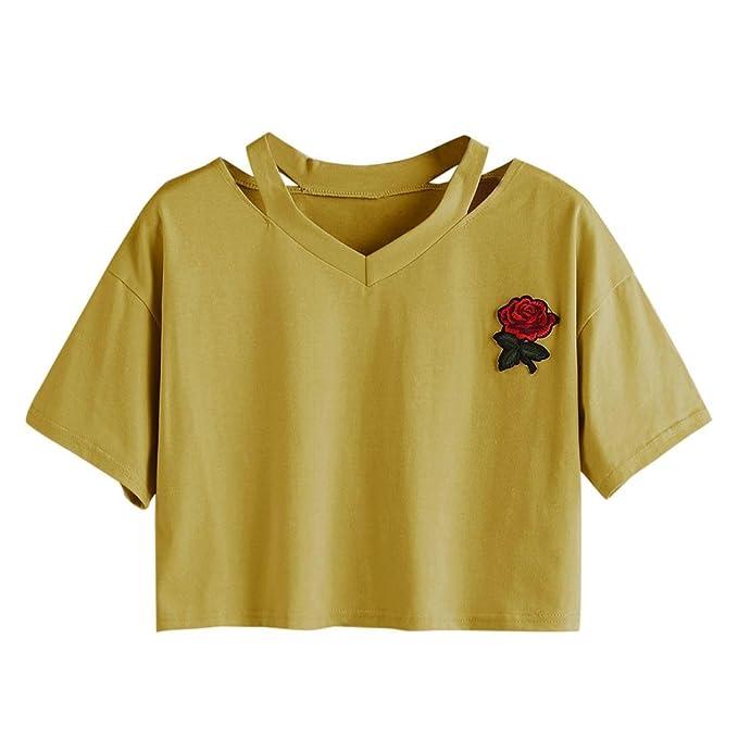 estilo de moda de 2019 seleccione para auténtico servicio duradero Goodsatar Mujer Rosa Manga corta Casual Camiseta Mezcla de algodón Cuello  en V Chaleco Tops Blusa