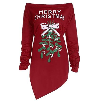 Moonuy – Vestido Corto para Mujer Party Camiseta Vestido Xmas Print Letter Merry Christmas