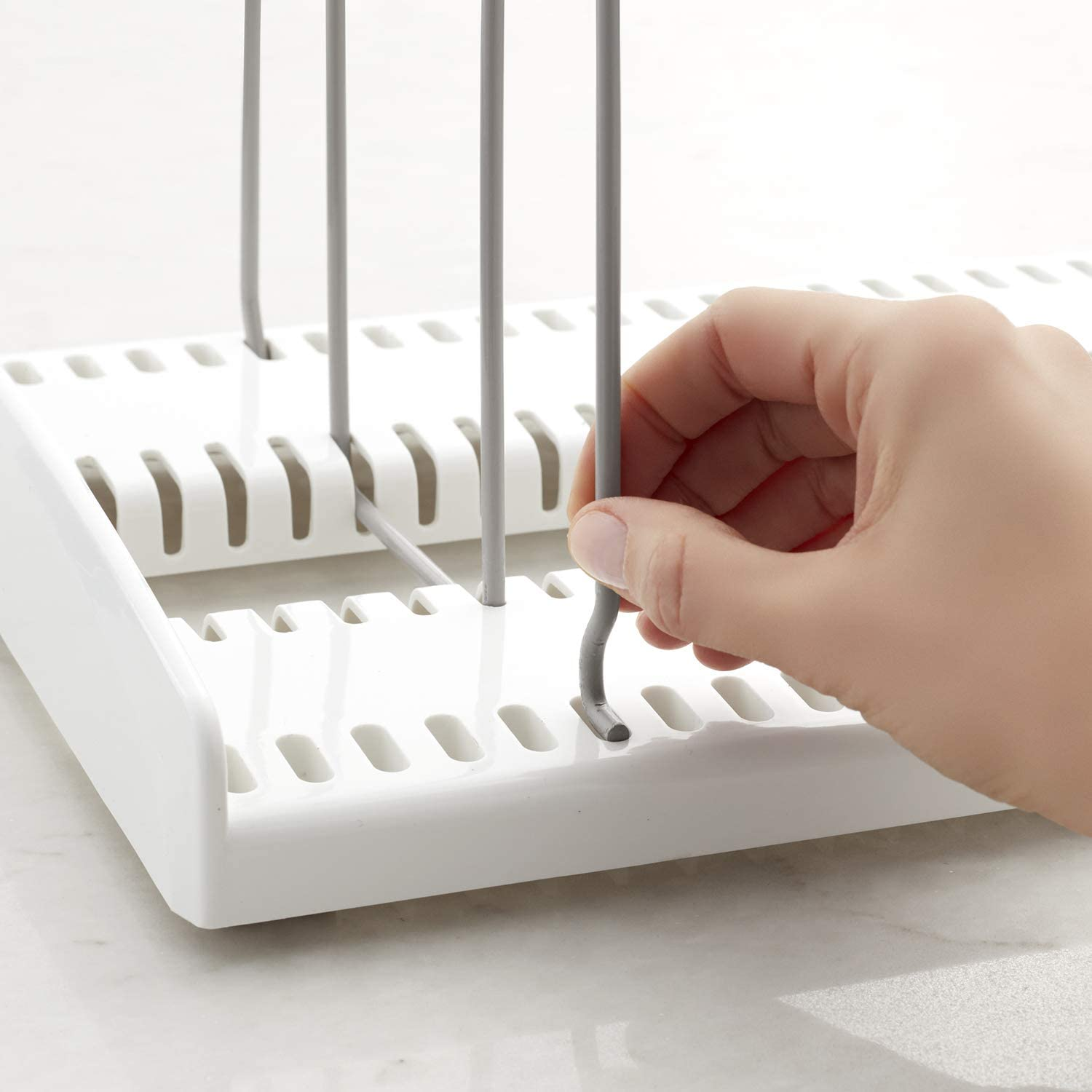 White YouCopia 09041-01-WHT StoreMore Adjustable Cookware Rack Pan Organizer