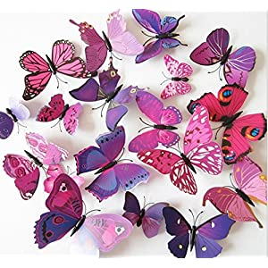Amaonm 60 Pcs 5 Packages Beautiful 3D Butterfly Wall Decals Removable DIY Home Decorations Art Decor Wall Stickers & Murals for Babys Bedroom Tv Background Living Room (Purple)