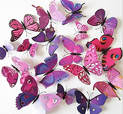 Amaonm 60 Pcs 5 Packages Beautiful 3d Butterfly Wall Decals ...
