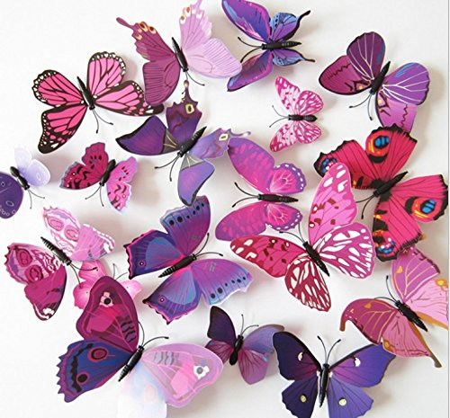 Amaonm 60 Pcs 5 Packages Beautiful 3D Butterfly Wall Decals Removable DIY Home Decorations Art Decor Wall Stickers & Murals for Babys Bedroom Tv Background Living Room (Purple) -