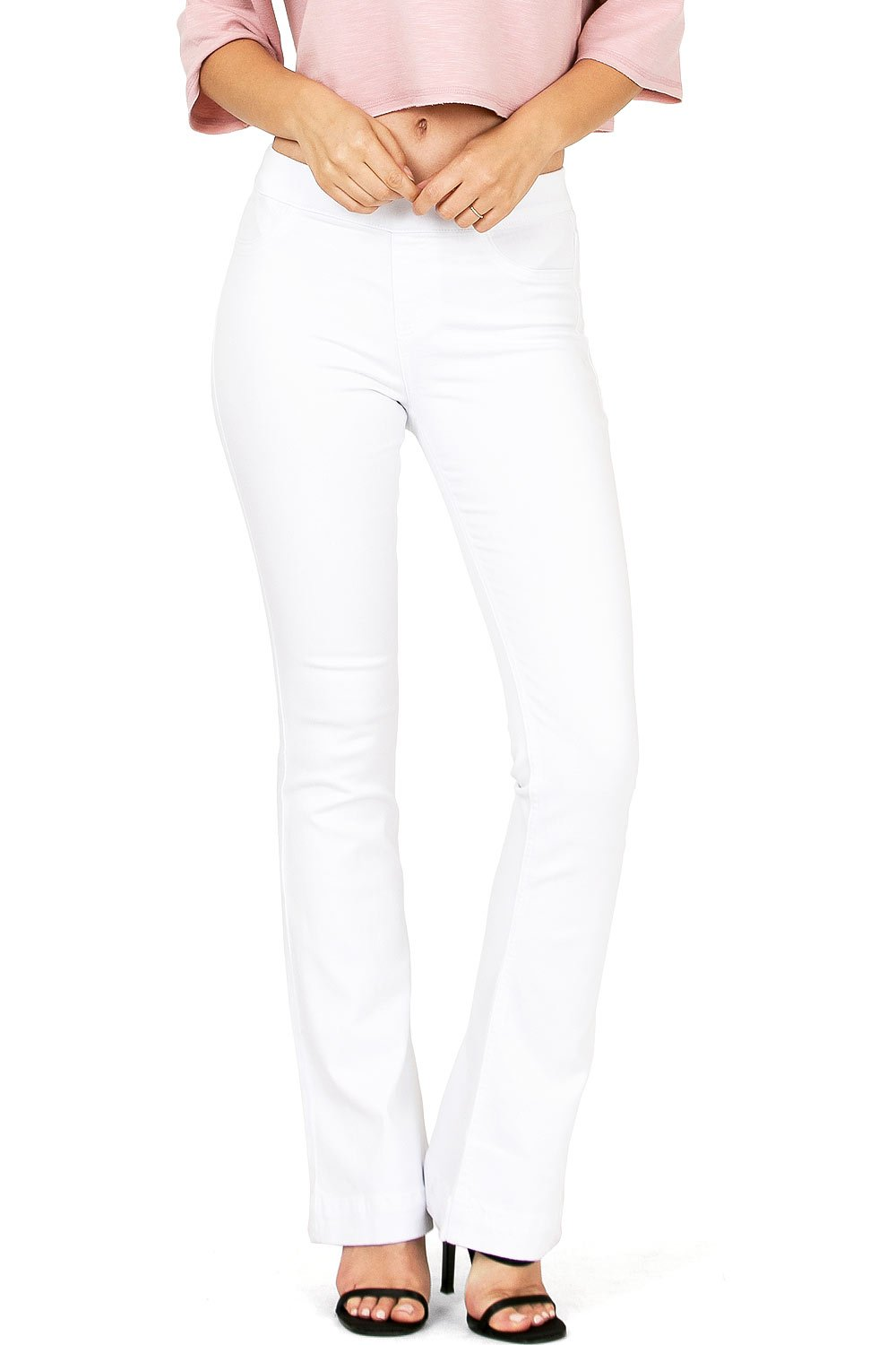 Cello Women's Juniors Mid Waist Skinny Fit Bootcut Pants (S, White)