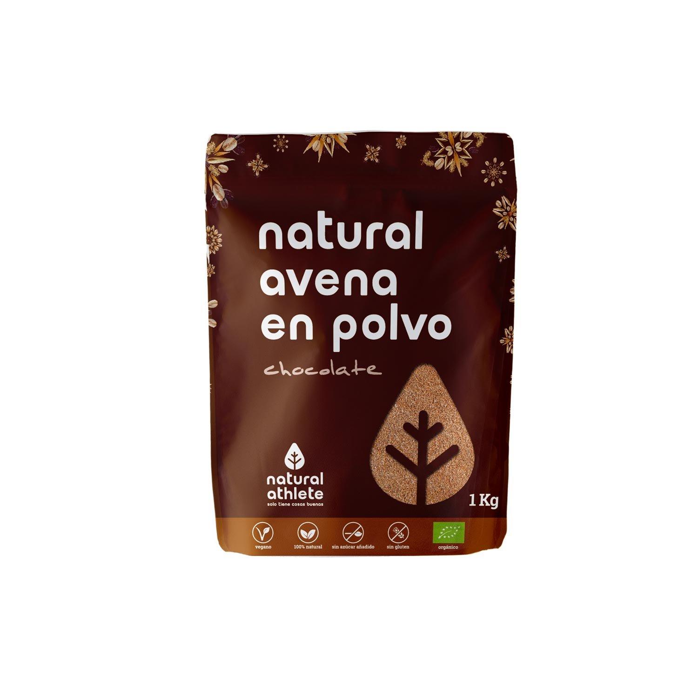 Harina de Avena Integral de Chocolate - Natural Athlete - 100% Natural - BIO - Sin Gluten - Sin Lactosa - Vegana - Sin Azúcar Añadido. 1Kg
