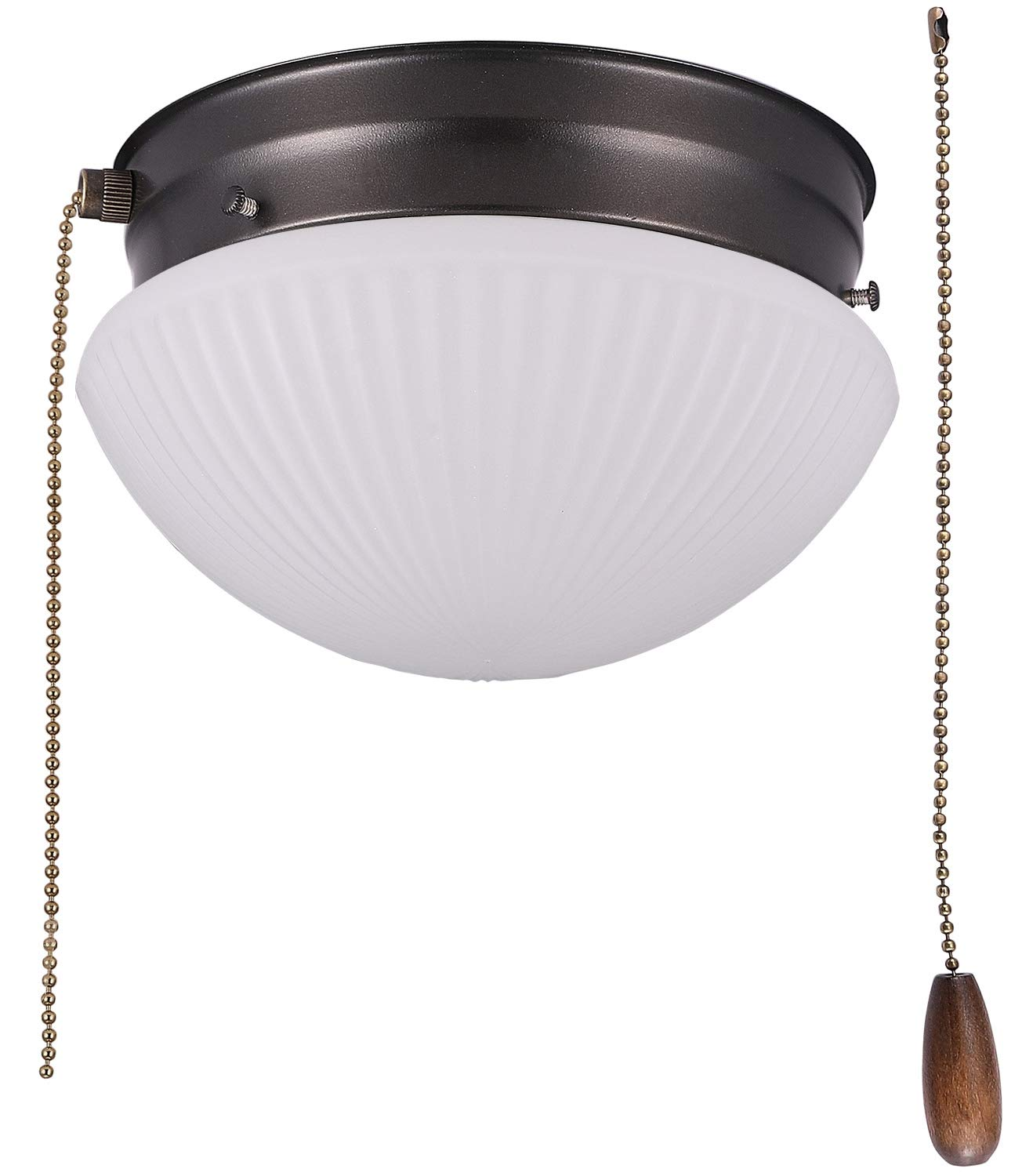 Cloudy Bay LED Flush Mount Ceiling Light with Pull Chain, Glass ...