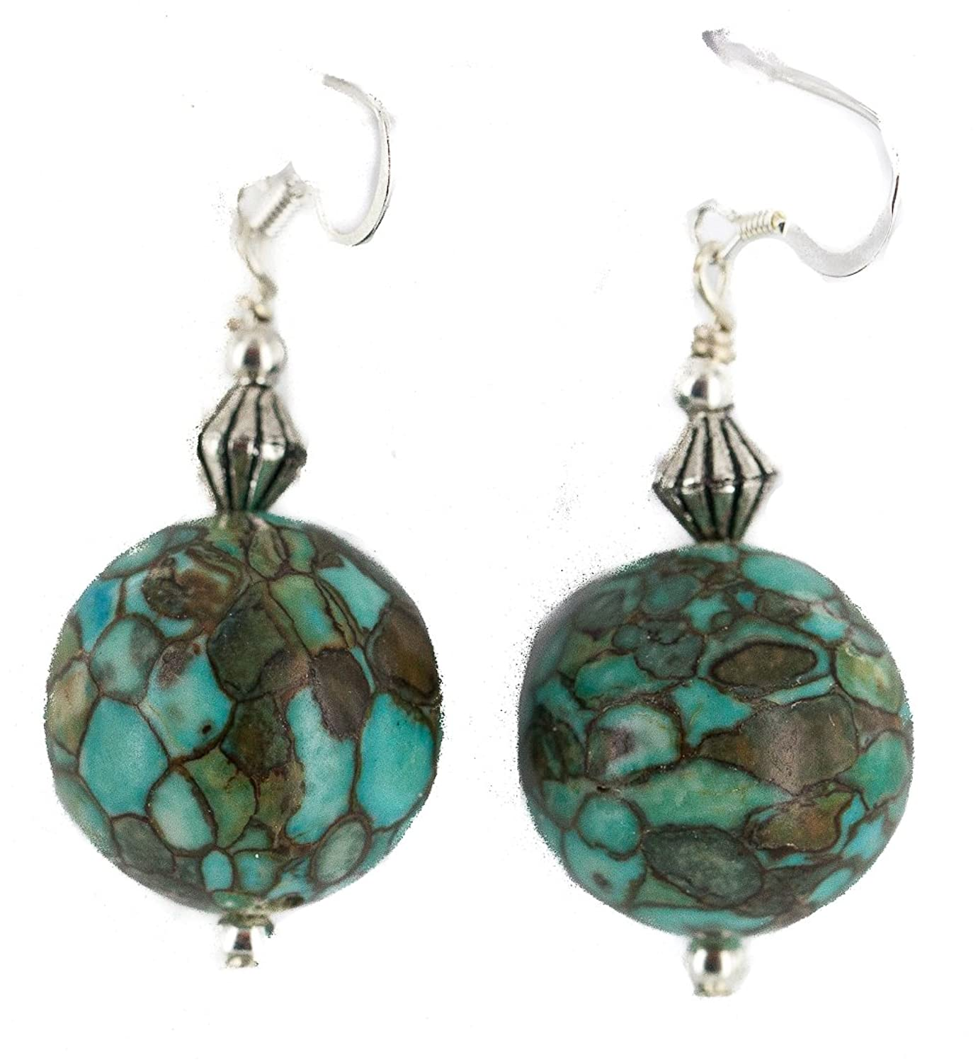 $90 Retail Tag Silver Hooks Authentic Made by Charlene Little Navajo Turquoise Native American Dangle Earrings