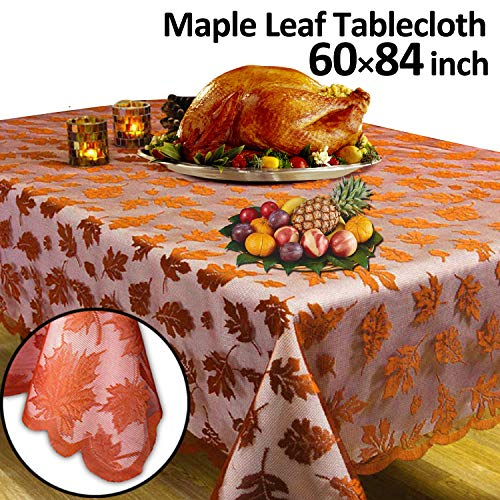 GBD Thanksgiving Tablecloth Fall Decor Lace Maple Leaves 60 x 84 Inch Thanksgiving Decor Rectangle Table Cover for Harvest Festival Party Decor Dinner Indoor Kitchen Décor