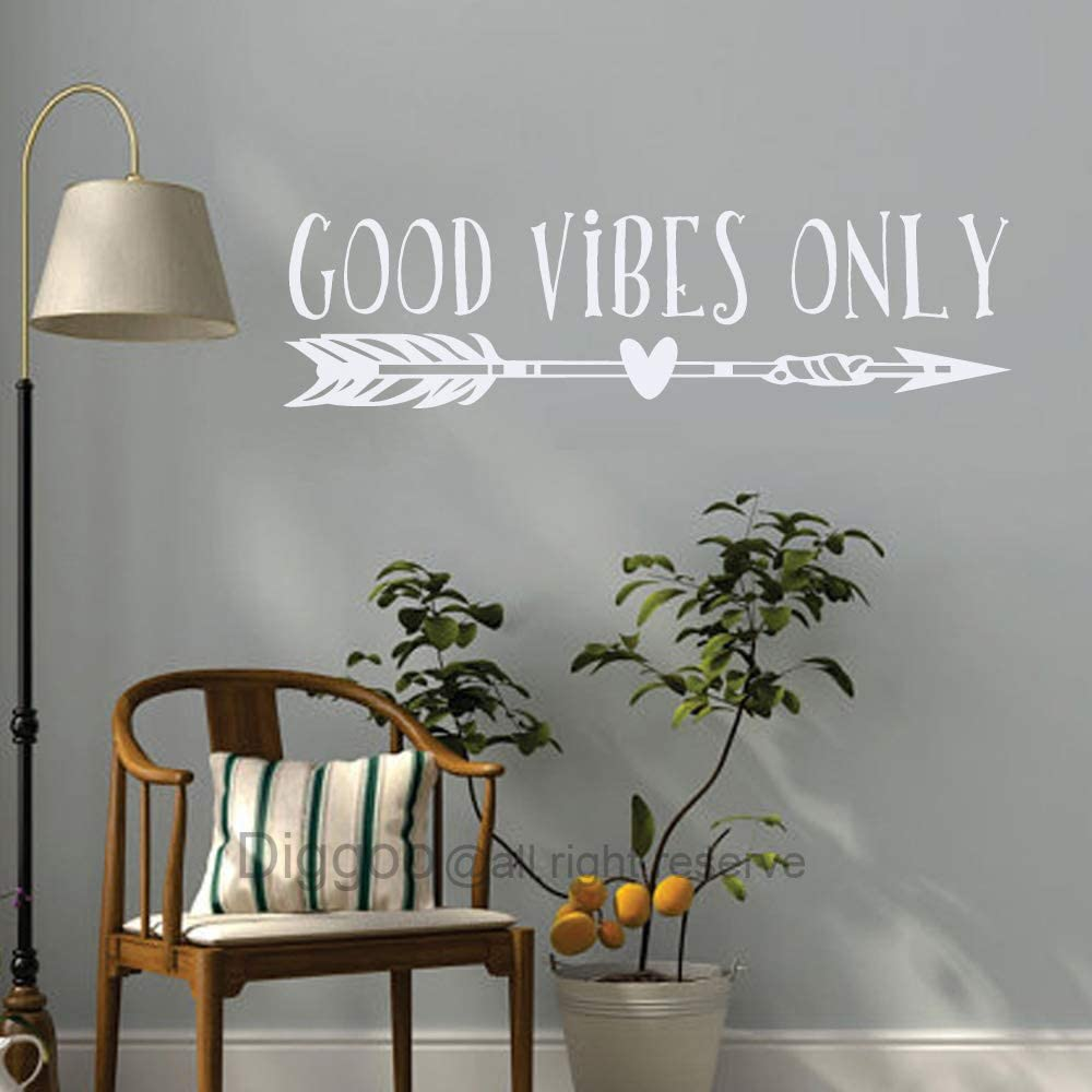 """Good Vibes ONLY Wall Decal Good Vibes Removable Vinyl Lettering Boho Arrow Wall Art Sticker Living Room Decor (White,6"""" h x 22"""" w)"""