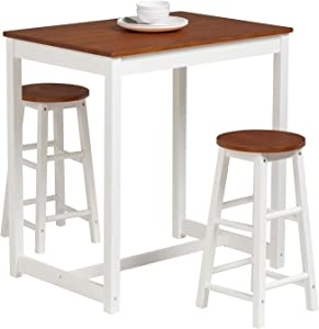 Mecor 3-Peice Pub Table Set, Wood Dining Breakfast Table Set with 2 Counter Stools for Home Kitchen Breakfast Furniture, Natural