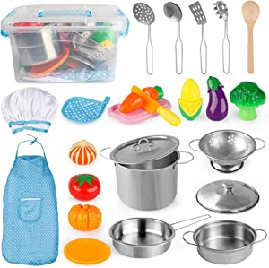 D-FantiX Pretend Play Toy Kitchen Accessories Pots and Pans Kids Kitchen Playset, Utensils, Apron and Chef Hat, Cutting Vegetables Play Cooking Set for Toddlers Boys and Girls