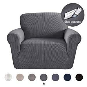 Marchtex Strech Chair Covers for Moving Furniture Sofa Protector Jacquard Spandex Couch Covers for Living Room Form Fitted Sofa Slipcover Charcoal Gray, Chair (1 Seater)