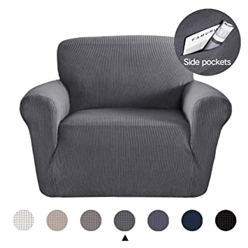Wondrous Marchtex Strech Chair Covers For Moving Furniture Sofa Protector Jacquard Spandex Couch Covers For Living Room Form Fitted Sofa Slipcover Charcoal Andrewgaddart Wooden Chair Designs For Living Room Andrewgaddartcom