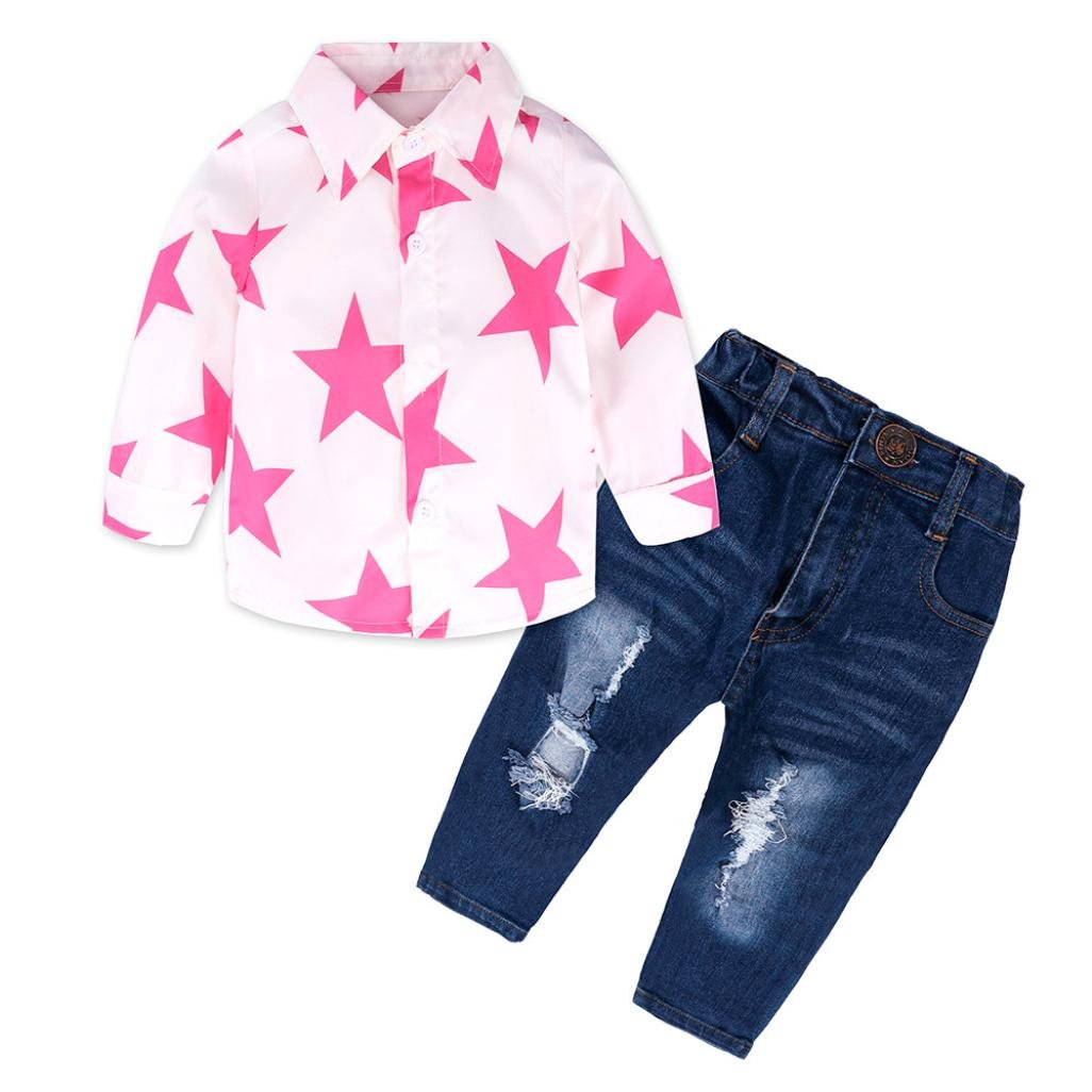 5b16acbf8 Amazon.com: Minisoya Fashion Toddler Kids Baby Girl Star T-Shirt Lapel  Button Tops Ripped Holes Jeans Denim Pants 2Pcs Outfits Set: Clothing