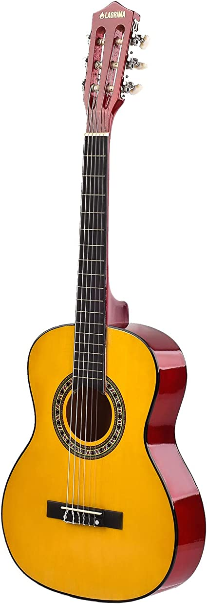 Guitarra acústica amarilla de 34 pulgadas con cuerdas, púas ...