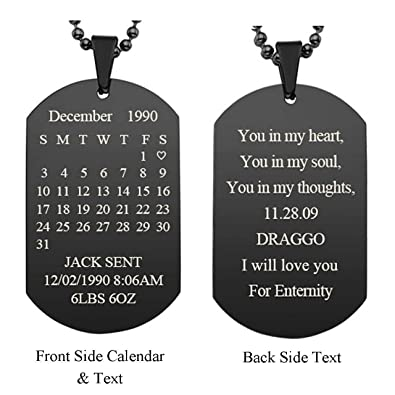 Personalized Master Free Engraving Custom Special Date Calendar Text  Message Dog Tag Pendant Military Necklace with 24 inch Chain for Birthday