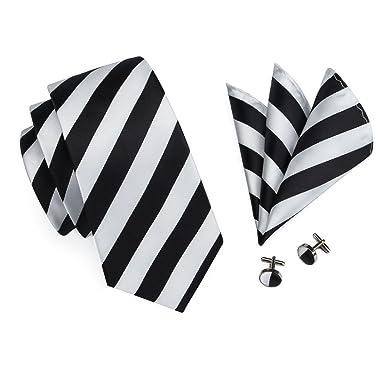 CAOFENVOO N-0276 Blanco y negro de seda de rayas lazo mancuernas ...