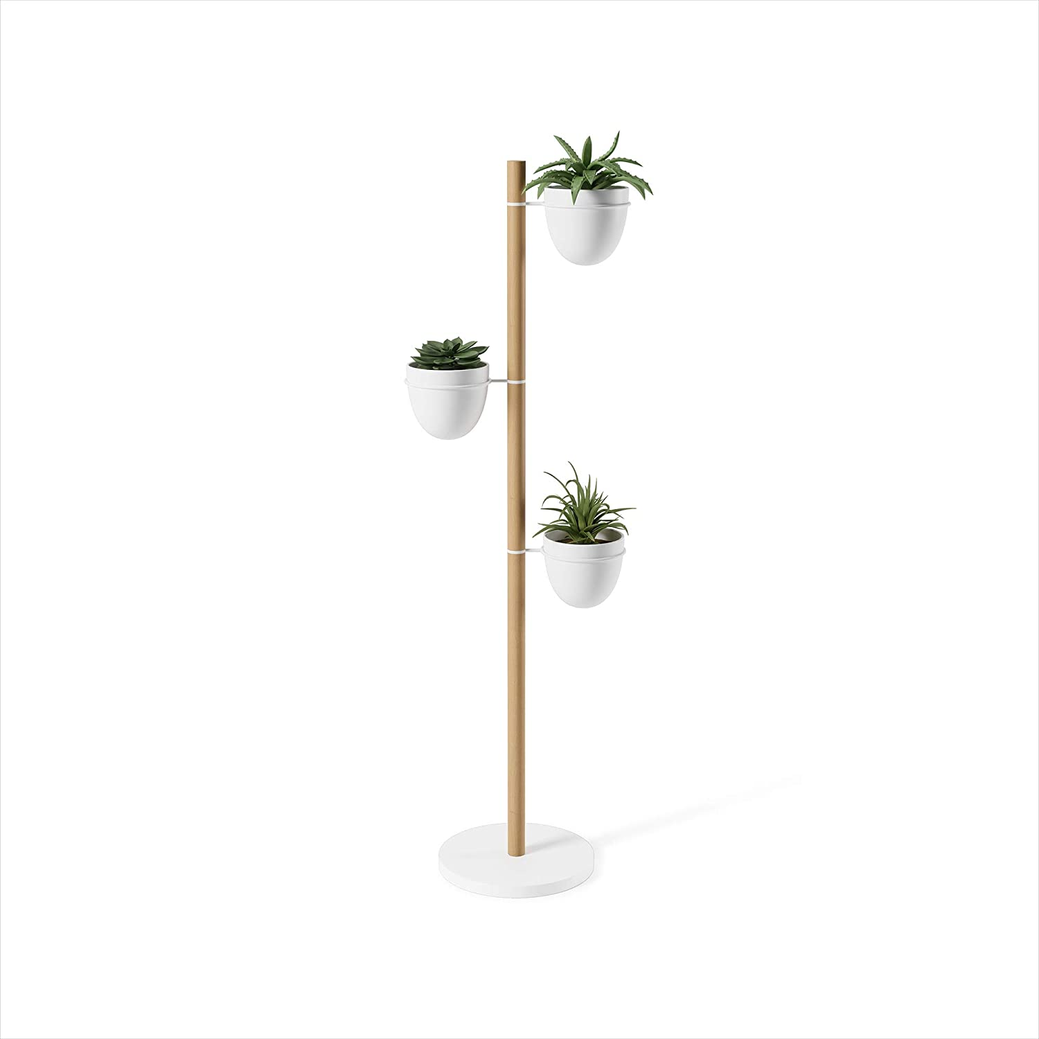 Umbra Floristand Planter, Freestanding Plant Storage, White/Natural