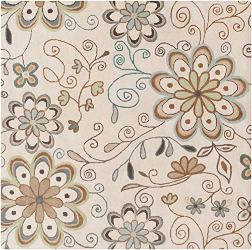 Surya Athena ATH-5123 Hand Tufted Wool Square Floral and Paisley Area Rug, 8-Feet
