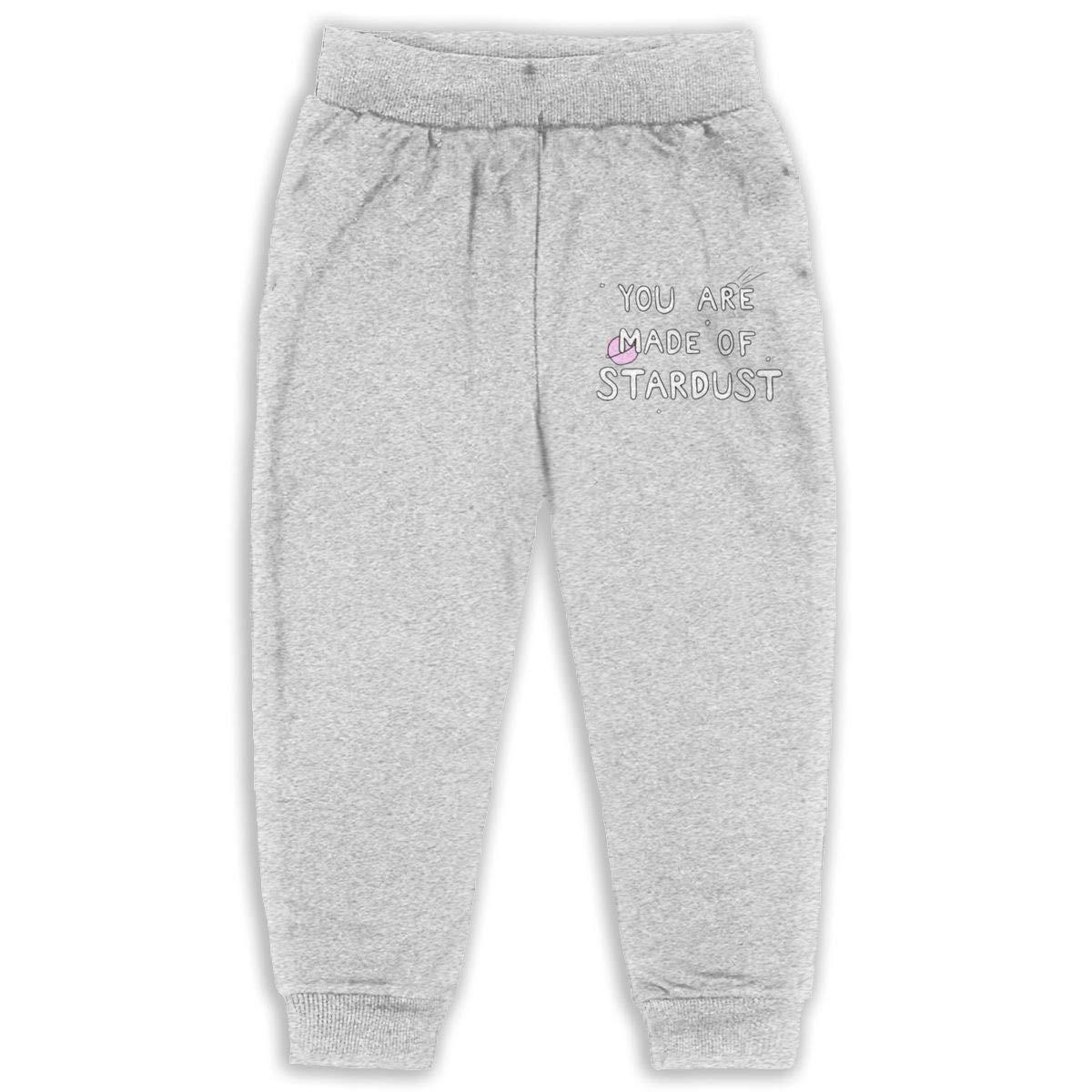 LFCLOSET Youre Made of Stardust Children Active Jogger Sweatpants Basic Elastic Sport Pants Black